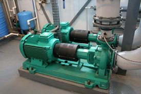 Group of Large Pump Units with motors attached